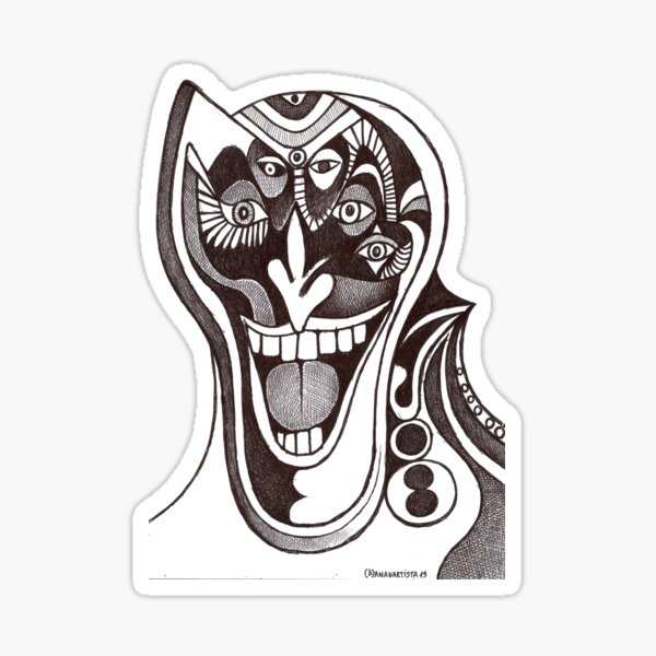 Joker (original pen drawing) Sticker