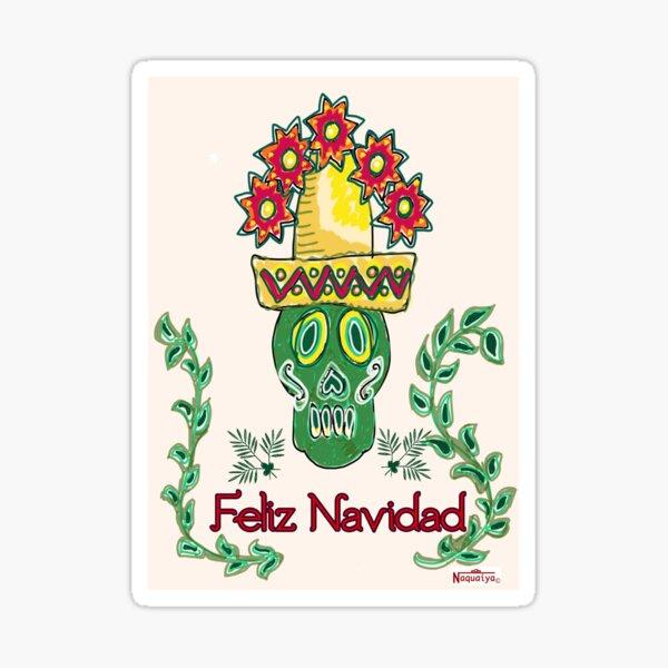 green skull sombrero feliz navidad Sticker