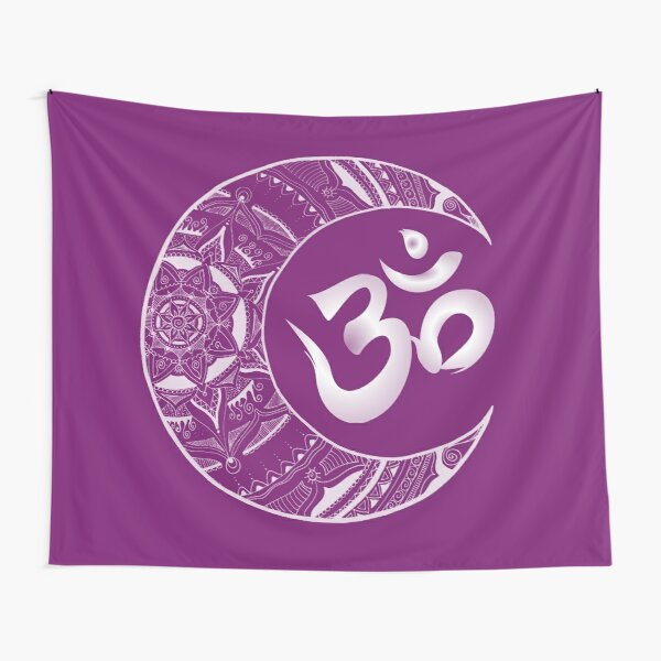 Crescent mandala with OM in white Tapestry