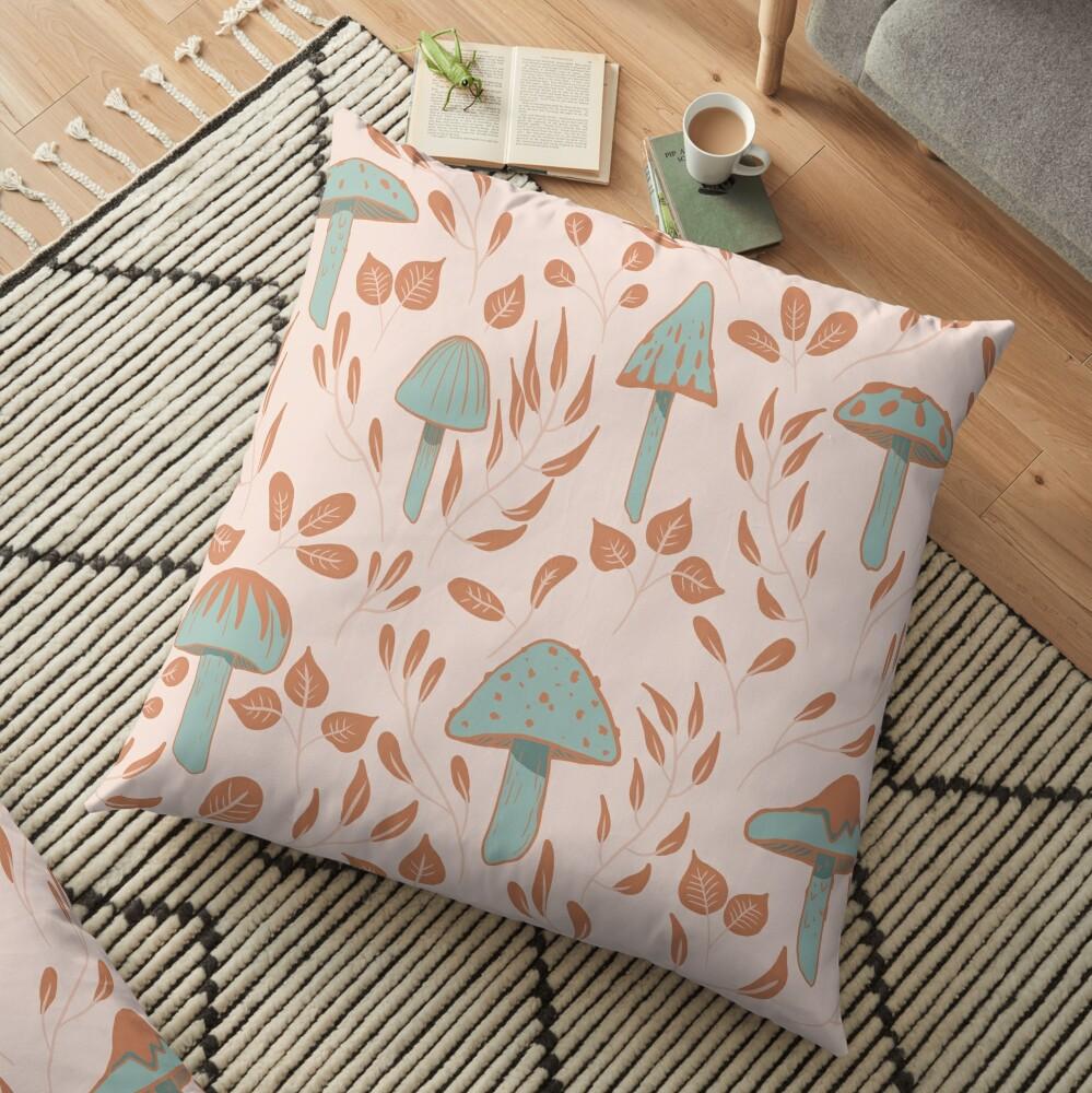 Leaves and Mushrooms Print Floor Pillow