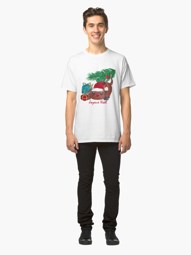 Alternate view of Reindeer with fir branch and gifts Joyeux Noël Classic T-Shirt