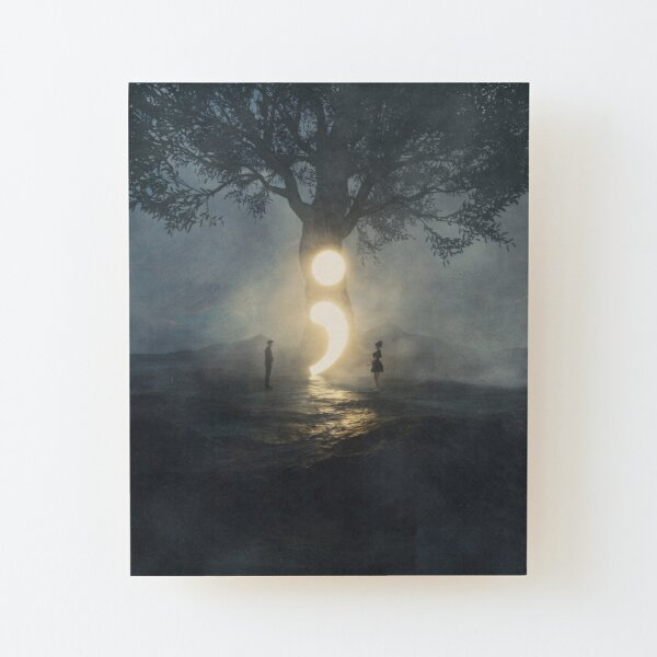 Semicolon - Cont;nue  Wood Mounted Print