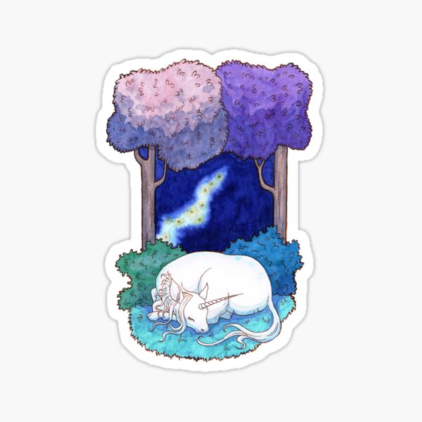 Sleep in the lilac forest Sticker