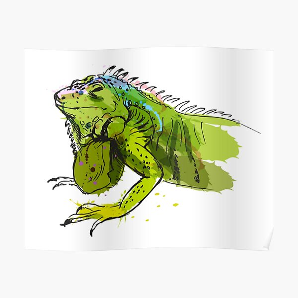 Green Iguana Watercolor Poster