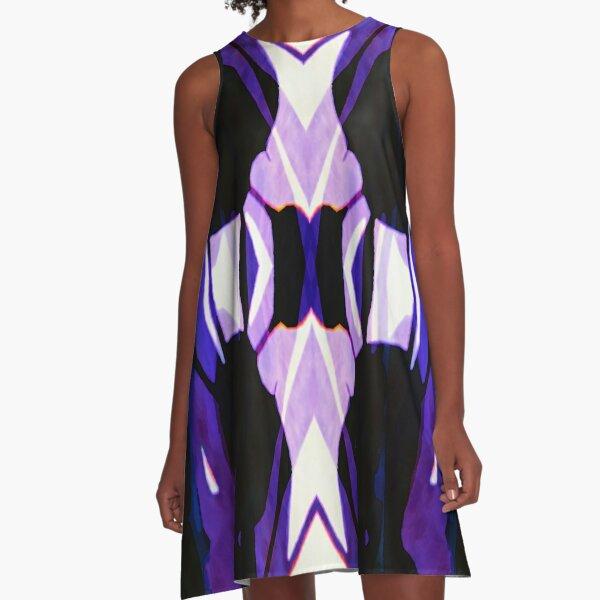 Abstract Blue A-Line Dress