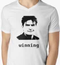 """Charlie Sheen """"Winning"""" Men's V-Neck T-Shirt"""