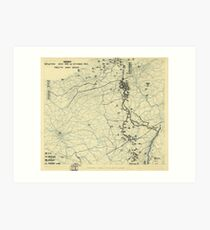 World War II Twelfth Army Group Situation Map October 14 1944 Art Print