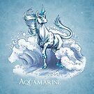 March Birthstone Unicorn: Aquamarine Gemstone Fantasy Art by Stephanie Smith