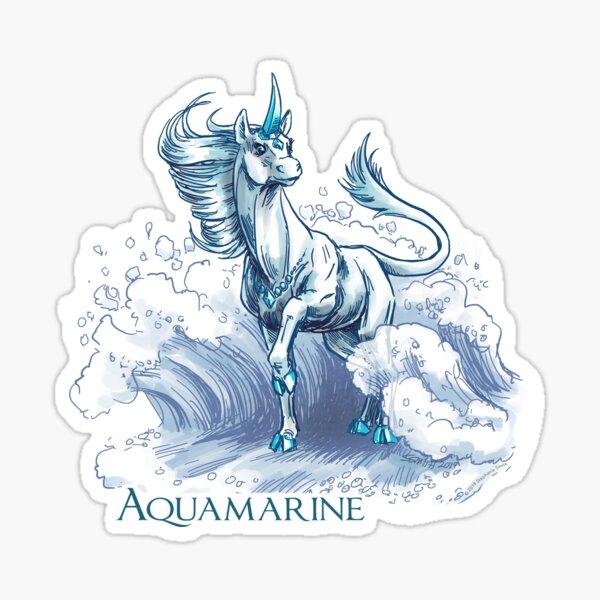 March Birthstone Unicorn: Aquamarine Gemstone Fantasy Art Sticker