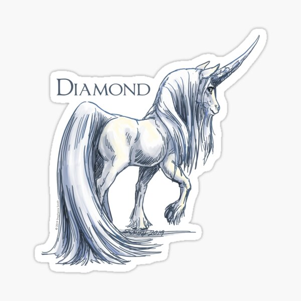 April Birthstone Unicorn: Diamond Gemstone Art Sticker
