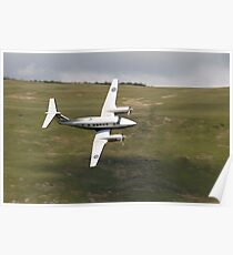 King Air 250 G-RAFP low flying and almost knife edge Poster