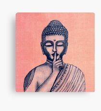Buddha Shh... Do not disturb in Coral Metal Print