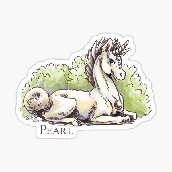 June Birthstone Unicorn: Pearl Gemstone Fantasy Artwork Sticker