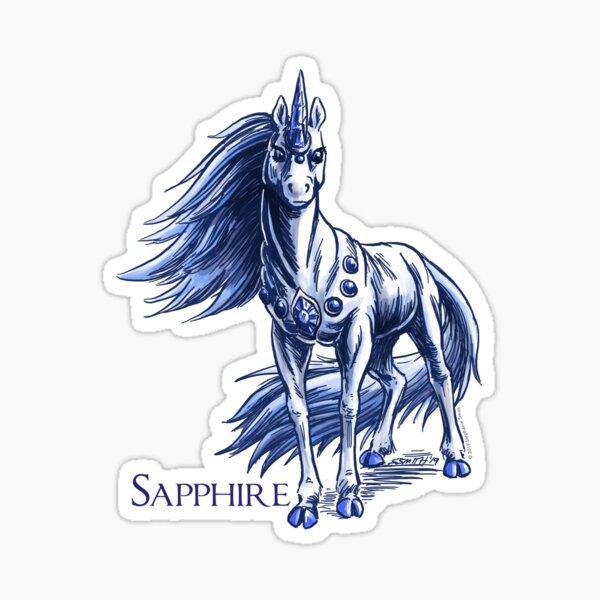 September Birthstone Unicorn: Sapphire Gemstone Fantasy Art Sticker