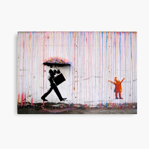 Banksy Umbrella Rainbow Happy Girl Canvas Print