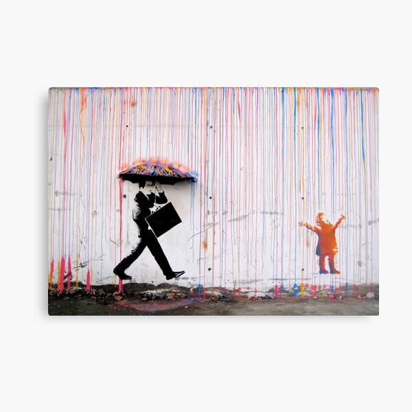 Parapluie Banksy Rainbow Happy Girl Impression métallique