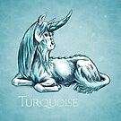 December Birthstone Unicorn: Turquoise Gemstone Art by Stephanie Smith