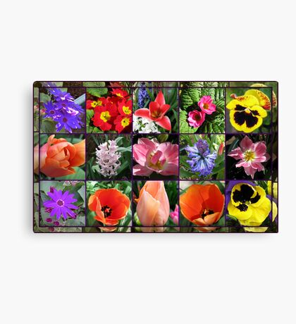 Glories of Spring Floral Collage in Mirrored Frame Leinwanddruck