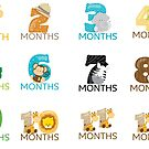 Baby Month Growth Milestone Stickers by AlaskaGirl