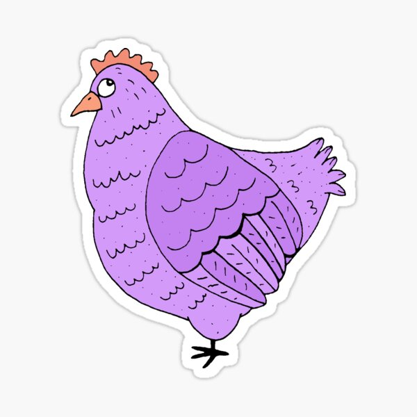 Purple Cartoon Chicken Sticker  Sticker