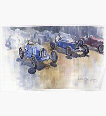 Bugatti 51 Alfa Romeo 8C 1933 Monaco GP Poster