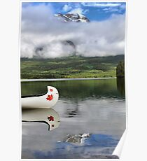 Maple Leaf Canoe Reflection Poster