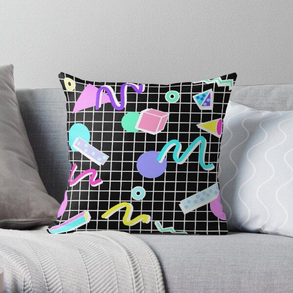80s Retro Party Grid Design (Black BG) Throw Pillow
