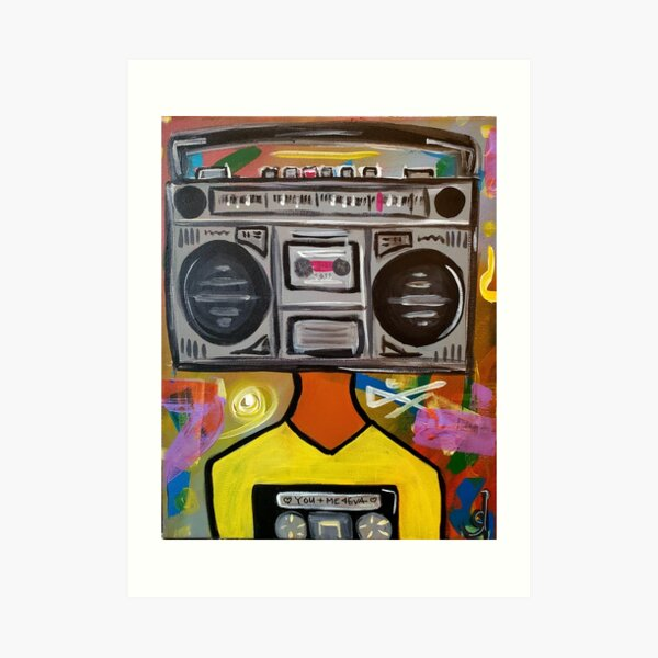 Boombox Tape Player Poster Print Music Producer Sound Engineer DJ Gift Boom Box