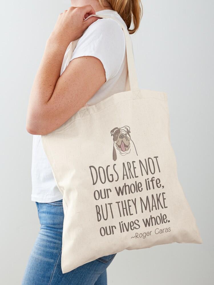 Dog Mom Tote English Bulldog Pet Parent Gift Cute Tote Bag Single Line Art Pet Sympathy Gift Tote Bag; Dog Remembrance Gift