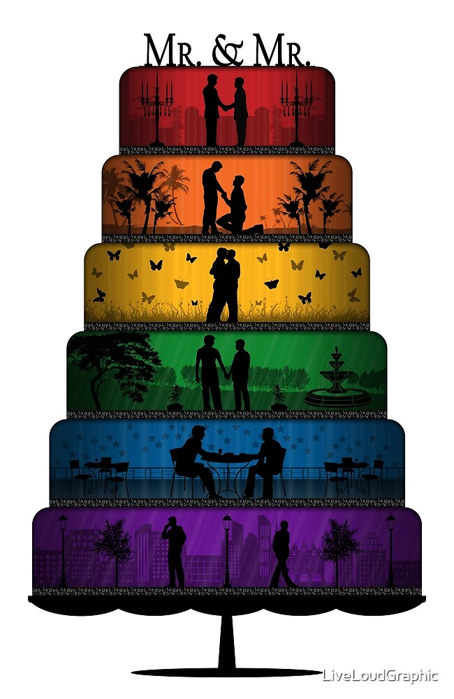 Gay Pride Wedding Cake by LiveLoudGraphic