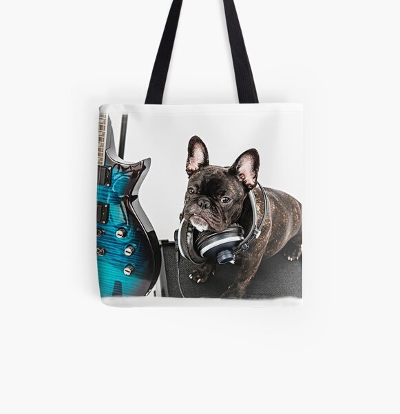 French bulldog and guitar portrait All Over Print Tote Bag