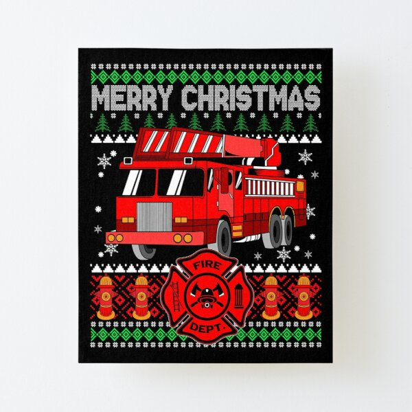 Firefighter Christmas Sweater Wall Art | Redbubble