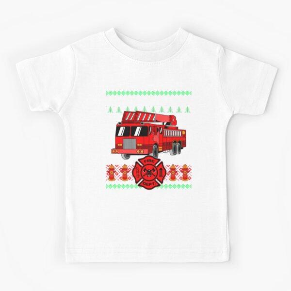 Fire Truck, Rescue Team Firefighter Ugly Christmas Sweater Kids T-Shirt