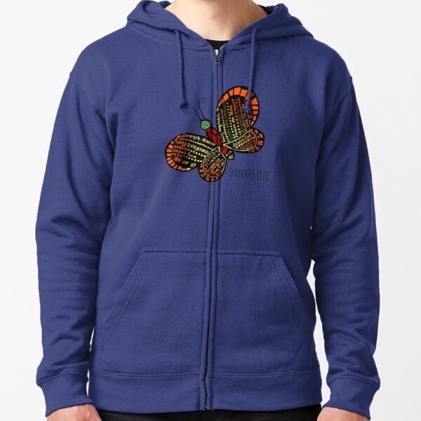 Donate Life Butterfly 1 Zipped Hoodie