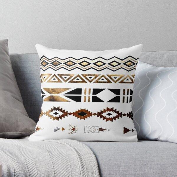 Tribal Aztec Gold and Black Design Throw Pillow