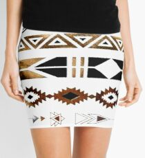 Tribal Aztec Gold and Black Design Mini Skirt