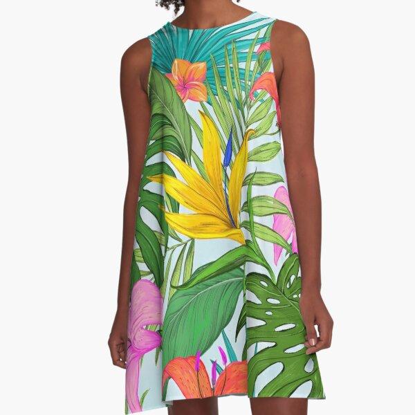 Hawaiian Floral A-Line Dress