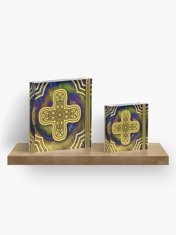 Alternate view of Gold Cross Acrylic Block