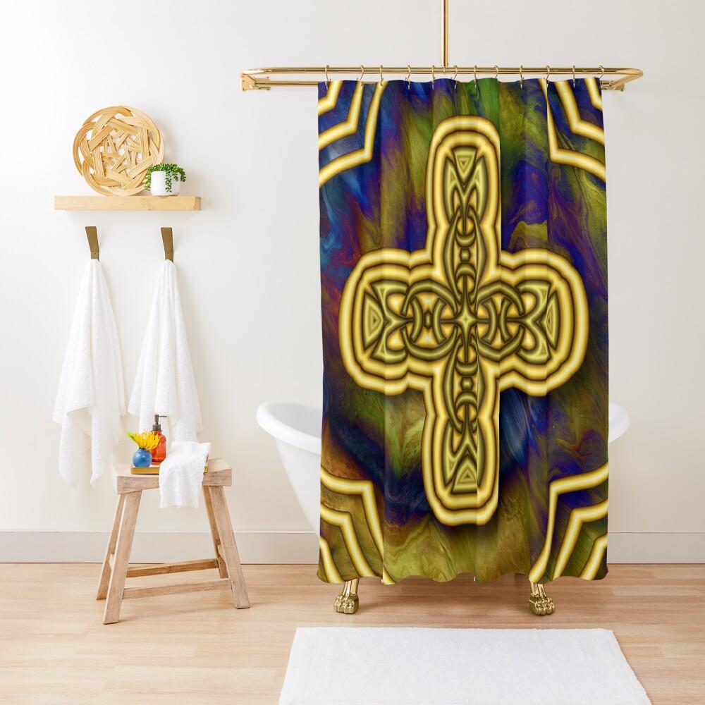 Gold Cross Shower Curtain