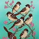 Sakura Sparrows by Marta Tesoro