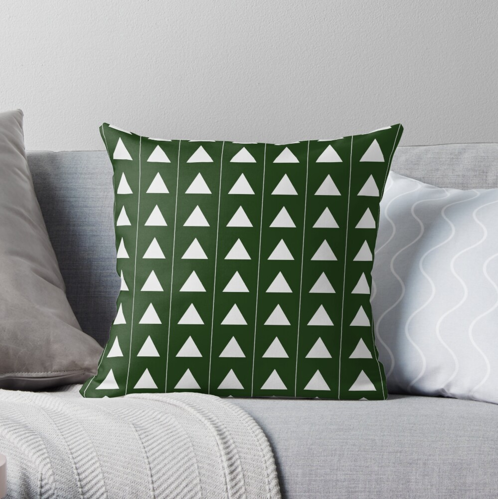 Pyramid Triangles - Olive Green Throw Pillow