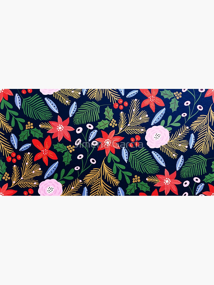 Christmas florals pattern with poinsettias by Jime-Creates