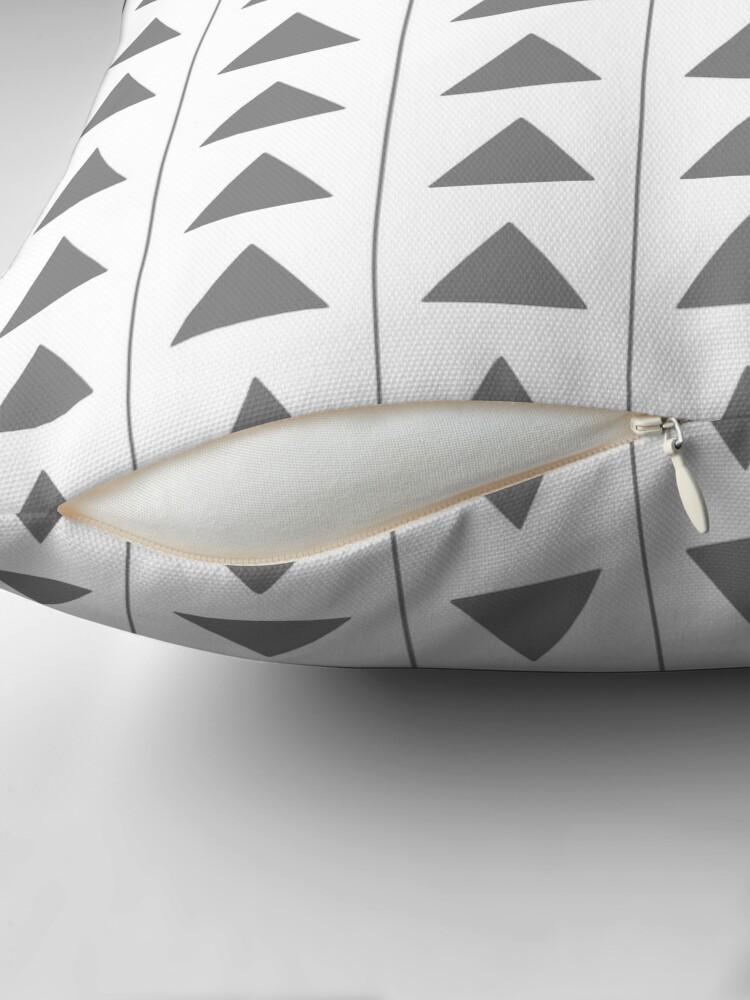 Alternate view of Pyramids - Gray on White Throw Pillow