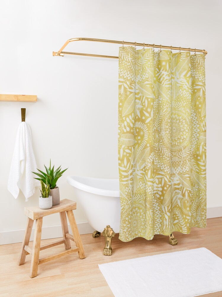 Alternate view of Medallion Pattern in Mustard and Cream Shower Curtain