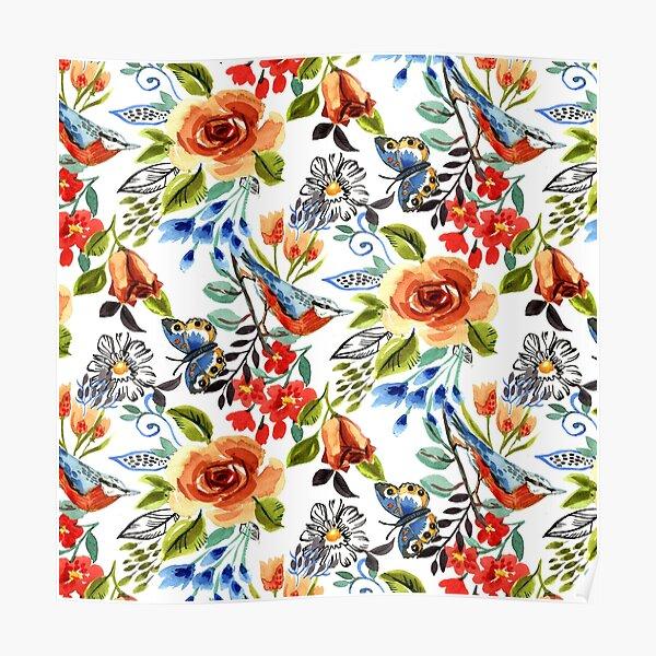 Garden bird design from an original watercolor painting Poster