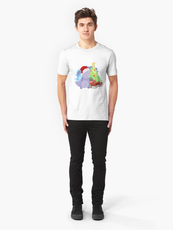 Alternate view of Treesaurus: a Dinosaur Christmas Slim Fit T-Shirt