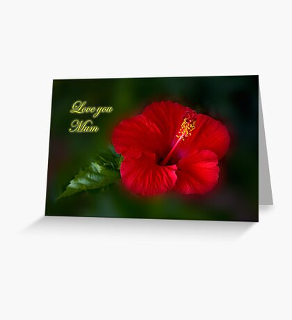 Red and Green love you mum Greeting Card