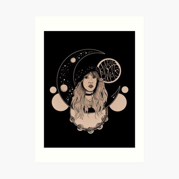 Stevie Nicks Inspired 70s Psychedelic Moon Print  Art Print