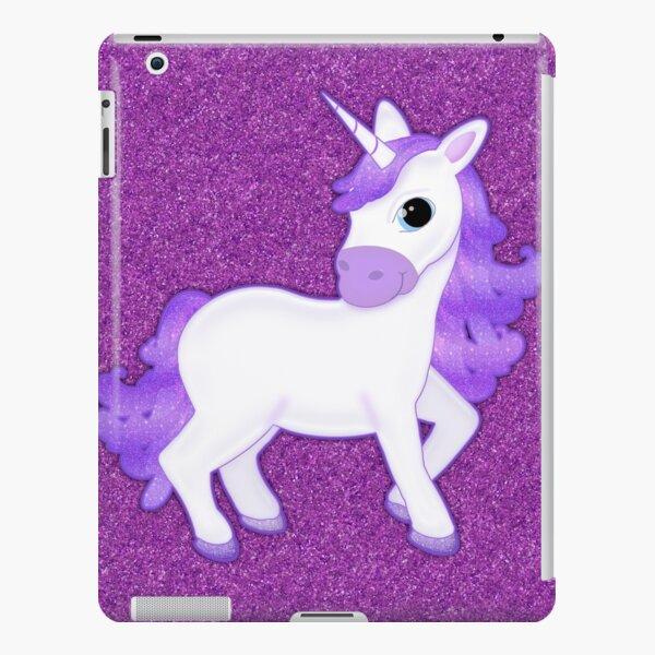 Cute Purple Cartoon Unicorn on Glitter Background iPad Snap Case