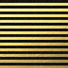 Gold Foil With Black Glitter Stripes by Cherie Balowski